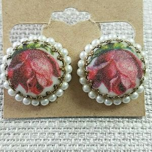 Vintage Clip on Sugared Rose Faux Pearl Earrings